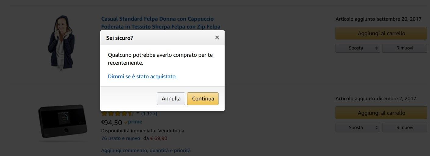 Sei sicuro? Notifica Amazon